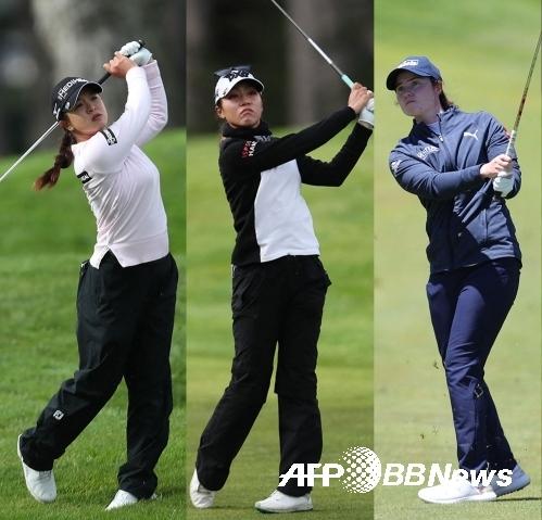 2021년 미국여자프로골프(LPGA) 투어 메디힐 챔피언십에 출전한 김세영 프로, 리디아 고, 리오나 매과이어가 1라운드에서 경기하는 모습이다. 사진제공=ⓒAFPBBNews = News1