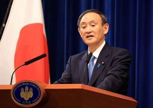 스가 요시히데 일본 총리. 도쿄/AFP 연합뉴스