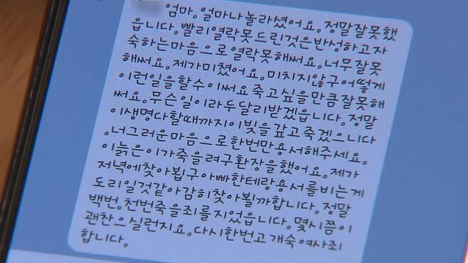 지난 3일, 산후도우미 A 씨가 잘못을 인정하며 피해 아동 엄마에게 보낸 메시지.