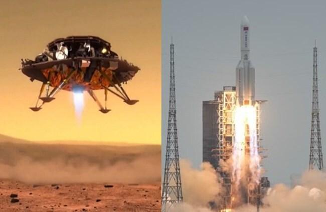 지난해 7월 23일 하이난 원창 우주발사장에서 창정-1에 실려 발사되는 톈원 1호(사진 오른쪽)와 화성에 착륙하는 모습(가상 이미지)