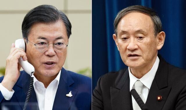 문재인 대통령과 스가 요시히데 일본 총리