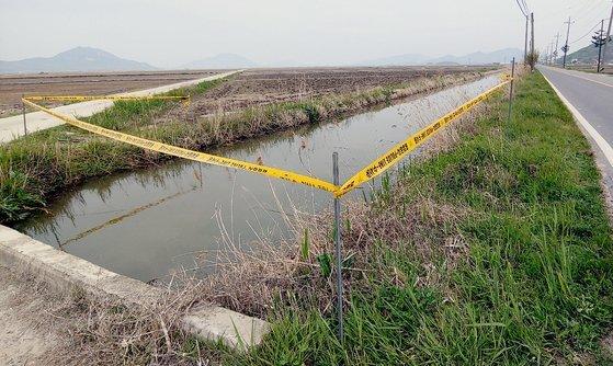 30대 여성이 숨진채 발견된 인천 강화군 농수로의 모습. 뉴스1