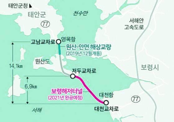 국도77호선 보령해저터널이 올해 연말 개통 예정이다. 터널이 준공되면 2019년 12월 우선 개통한 해상교량 원산안면대교와 이어진다. [사진 충남도]