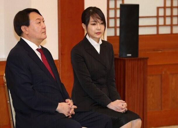 2019년 검찰총장 임명 당시 윤석열과 김건희. 청와대사진기자단