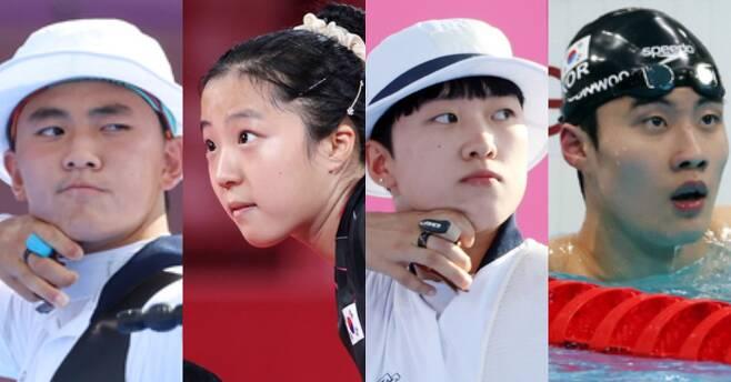 2020 도쿄올림픽 Z세대 김제덕·신유빈·안산·황선우(왼쪽부터). 연합뉴스