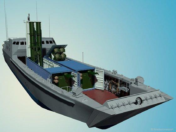 고속상륙정에 탑재할 수 있는 러시아의 컨테이너형 클럽-K 대함미사일. 사진 로소보로넥스포르트