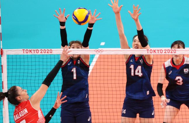 4일 일본 아리아케 아레나에서 열린 도쿄올림픽 여자 배구 8강 한국과 터키의 경기. 한국 이소영(왼쪽)과 양효진이 상대 공격을 블로킹하고 있다. 도쿄 | 연합뉴스