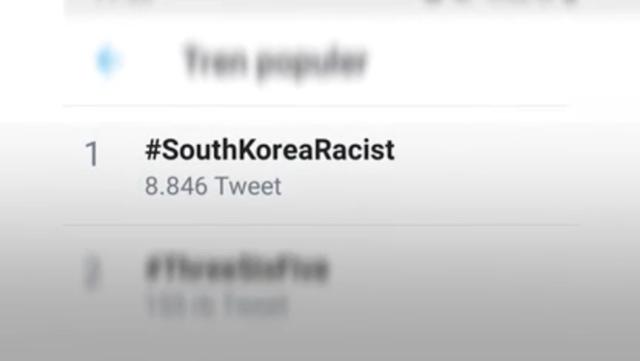 인도네시아 SNS에서 인기 주제 1위에 오른 '#한국은 인종차별주의자' 해시태그. SNS 캡처
