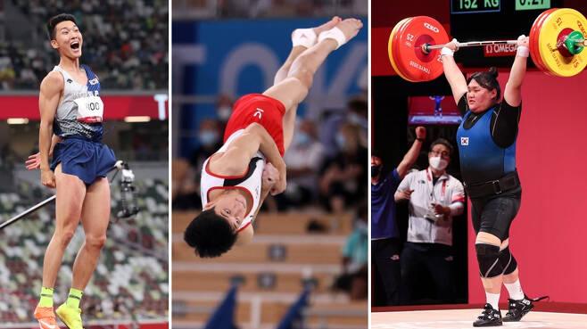 왼쪽부터 높이뛰기 우상혁, 체조 마루운동 류성현, 역도 이선미. [연합]