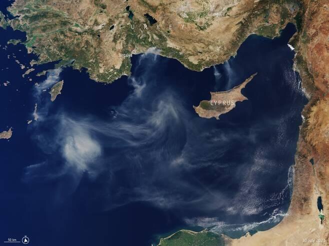 센티넬 위성이 지난달 30일 촬영한 지중해의 모습. 사진=ESA