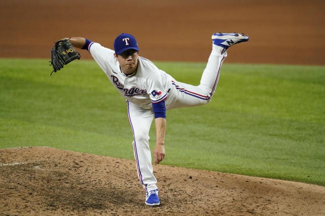9월2일 텍사스 레인저스에 3번째 복귀한 양현종, 3경기에서 4.1이닝 동안 4실점해 평균자책점은 5.60으로 올랐다. AP연합뉴스