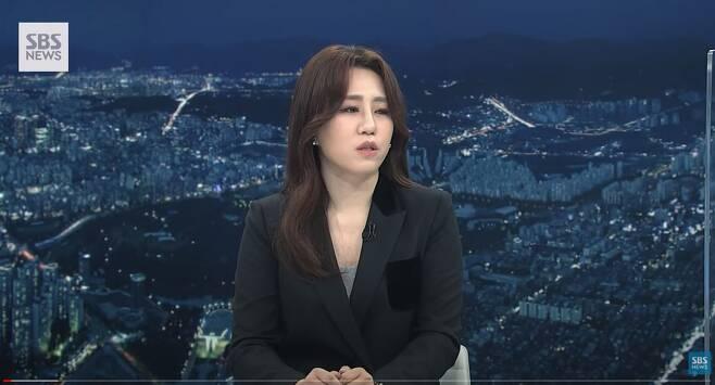 조성은씨가 13일 SBS뉴스에 출연, 자신이 제기한 이른바 '고발 사주' 의혹과 관련해 인터뷰하고 있다. /SBS 유튜브