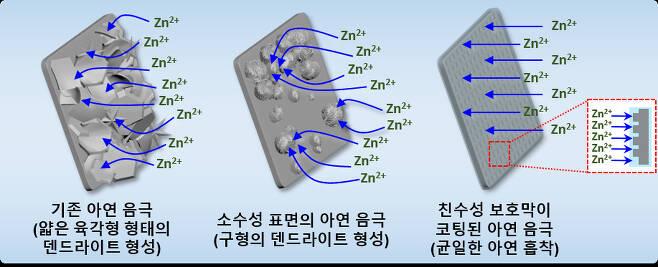 아연 음극 표면의 화학적 성질에 따라 다르게 형성되는 덴드라이트 형태 모식도.[한국생산기술연구원 제공]
