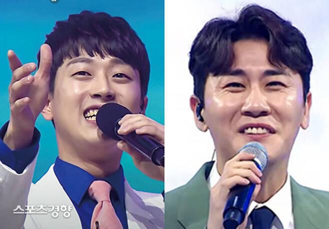 최근 원 소속사로 복귀한 영탁(오른쪽)과 이찬원이 JTBC 예능 프로그램 '아는형님' 녹화 일정에 참여한다. TV조선 방송 화면