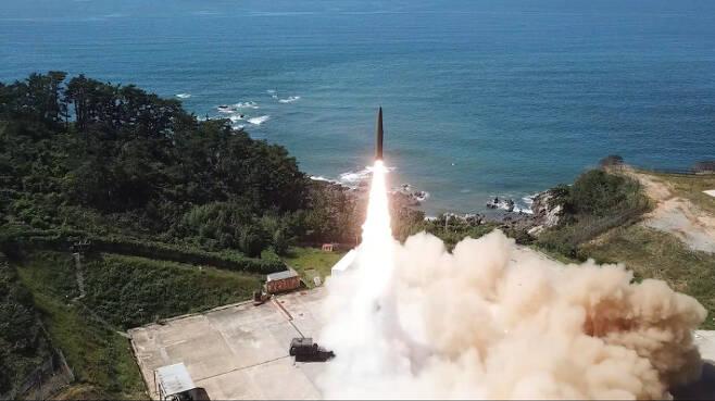 고위력 탄도미사일이 비행하는 모습. 국방부 제공