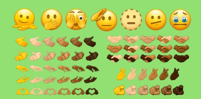 이모지피디아가 7월 발표한 14.0버전 이모지 후보들. 우측 하단 다양한 인종의 K-하트 모양.(사진=emojipedia)
