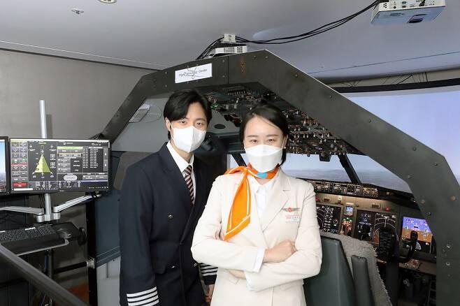 제주항공이 지난 4일부터 마포에서 운영하고 있는 조종실 시뮬레이터./제주항공