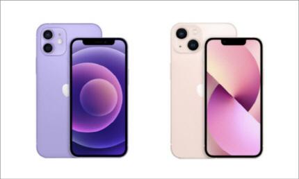 아이폰12(왼쪽)와 아이폰13. 노치 크기를 제외하고 디자인에서 큰 차이가 없다. [사진 = 애플]