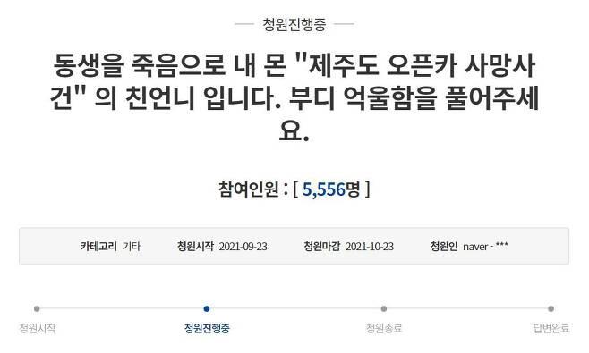 '제주도 오픈카' 사건 피해자 유족이 올린 청원./청와대 홈페이지