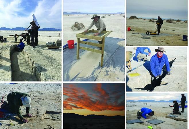 미국 뉴 멕시코주 화이트 샌드 국립공원에서 발자국 화석을 발굴하는 연구원들./미국 본머스대