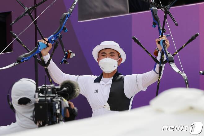 한국 양궁 대표팀의 김제덕. /뉴스1 © News1 송원영 기자