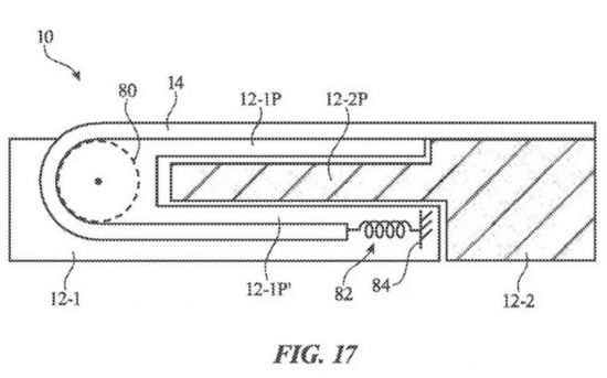 미국 특허청은 애플이 출원한 '슬라이딩 확장 디스플레이가 있는 전자 장치' 특허를 최근 공개했다. [미국 특허청]