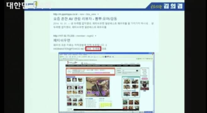 열린민주당 김의겸 의원이 14일 국회 문체위 국정감사에서 질의 중 사용한 PPT 화면 일부. 일부 성인 컨텐츠들이 모자이크 없이 그대로 노출됐다. /국회인터넷의사중계 캡처