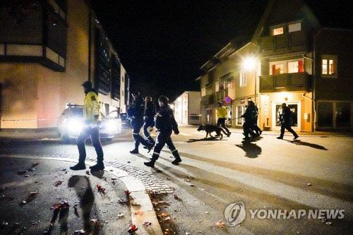 13일(현지시간) 저녁 화살 공격이 벌어진 노르웨이 콩스베르그 거리를 경찰이 순찰하고 있다. <오슬로 AP= 연합뉴스>