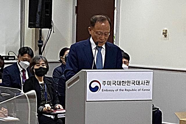 ▲국정감사에서 모두 발언을 하고 있는 이수혁 주미대사ⓒ프레시안(전홍기혜)